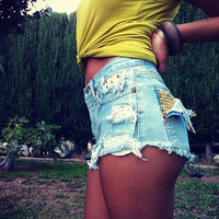 FREE SHIPPING Made to Order US Sz 1-10 - High Waisted Studded Cheeky Shorts