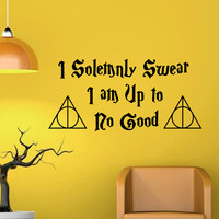 I Solemnly Swear Harry Potter Wall Decal Quote Deathly Hallows Symbol Hogwarts Wall Decal Vinyl Sticker Nursery Home Decor Wall Mural Q055