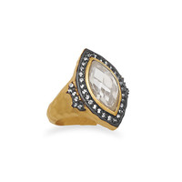 14 Karat Gold Plated Marquise CZ Ring