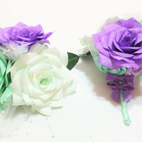 Mint green and lavender corsages, Mother's Wedding corsage, Prom corsage, Custom colors, Buttonhole flower, Paper flower corsage