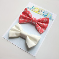 Coral Flowers Hair Bows / Floral White Hairbows / Peach Bow Clips Set