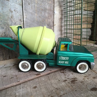 Structo Ready Mix Cement Truck, Vintage Toy Truck, Structo Metal Truck, Green, Yellow, Metal Toy Truck, Vintage Metal, Toy Collectable