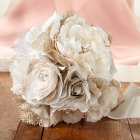 Burlap and White Flower Bouquet Country Rustic Wedding