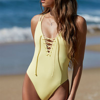 LA Hearts Ribbed Lace-Up One Piece Swimsuit at PacSun.com