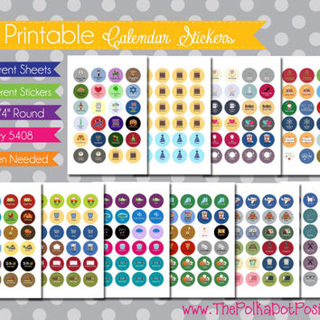 """NEW {Printable} Calendar and Planner Stickers - 3/4"""" Circle - INSTANT DOWNLOAD"""