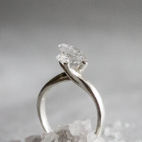 Herkimer Diamond Sterling silver Ring - Herkimer twin Engagement Ring - RARE