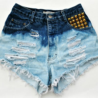 WILDHEARTS Vintage STUDDED High Waisted Denim by WildHeartsShorts