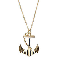 Gold tone striped anchor short necklace - necklaces - jewelry - women