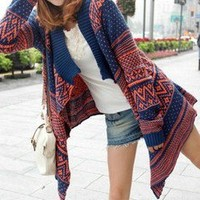 Fairisle Wrap Blue Chevron Stripe Cardigan Sweater Coat 25-C128 L