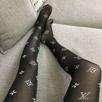 LV & Givenchy trend sexy women's print logo thin section stockings
