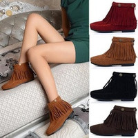 New 2016 Fashion Boho Flat Fringed Faux Suede Ankle Boots Booties Oxfords Moccasin 4 Colors P107 [7688070278]