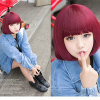 Women Fashion Synthetic New Short Wine Red Girls BOB Wigs Q001