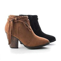 Shameless By Dollhouse, Braided Fringe Ankle Wrap Western Chunky Heel Bootie