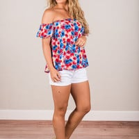 Daring Daisy Top, Red