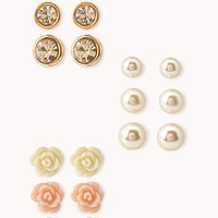 FOREVER 21 Pearlescent Rosette Stud Set Gold/Cream One