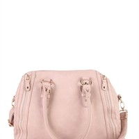 Two Handle Satchel Handbag with Quilted Sides