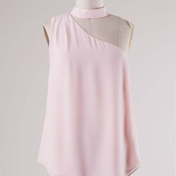 One Shoulder Choker Neck Blouse - Light Peach