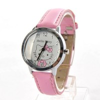 Hello Kitty Round Face Quartz Wristwatch Watch Faux Leather Band Pink