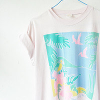 vintage souvenir tabago island of the west indies t-shirt . neon pastels . festival tee .