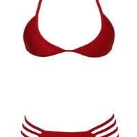 Red Low Neckline Strappy Cut-Out Bikini