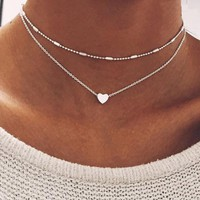 Simple Color Love Heart Choker Necklace For Women Multi Layer Beads Chocker Necklaces Collar Ras Du Cou Femme necklace