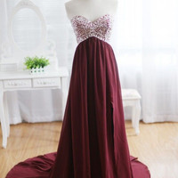 Burgundy Long Prom Dress,Princess Sweetheart Evening Dresses,Beading Rhinestones Chiffon Dress