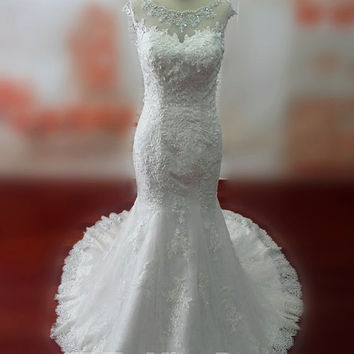 Real Samples Beaded Scoop Neckline Mermaid Lace Wedding Dress Bridal Gown Vestido De Noiva