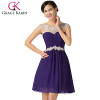 Grace Karin Knee Length Short Prom Dresses Blue Violet Purple Dance wear Sexy Homecoming Gown Beading Chiffon CL7536