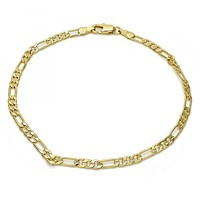 Gold Layered 04.63.1343.10 Basic Anklet, Figaro Design, Polished Finish, Golden Tone
