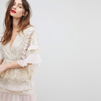 Stevie May Floral Lace Dress With Pleat Frill at asos.com