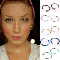 5pcsg  Fashion Gold Silver Color Stainless Steel Open Hoop Fake Piercing Nose Rings Clip Body Jewelry For Women