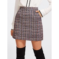 Zip Back Tweed Skirt