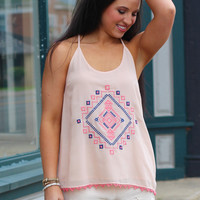 Cancun Cutie Tribal Embroidery Tank {L. Pink}