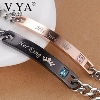 """Cool V.YA DIY""""Her King & His Queen""""Couple Bracelets Stainless Steel Crytal Charm Bracelets For Women Men Christmas Gift Drop ShippingAT_93_12"""