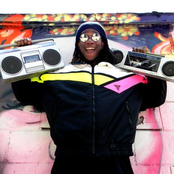 Vintage 80s Men's Ski Jacket - Mens Zip Up Bomber Ski Jacket by TYROLIA for HEAD in Neon Pink, Yellow, Black and White, Size XL Unisex