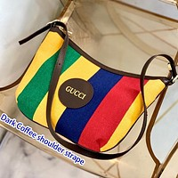 GUCCI color wide strip 2020 latest stripe Rainbow series men and women Shoulder Bag Crossbody Bag