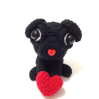 Amigurumi Dog Crochet Dog Crochet Amigurumi Pug Valentine's Day Heart Crochet Doll Plush Stuffed Animal Kawaii Pug Valentine's Day Gift Idea