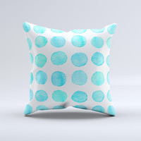 The Blue Watercolor Polka Dots ink-Fuzed Decorative Throw Pillow