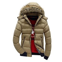 Winter Mens Hooded Down Jackets Fur Hood Slim Fit Fashion Warm Parka Male Hood Detachable Thick Puffer Jacket Coats
