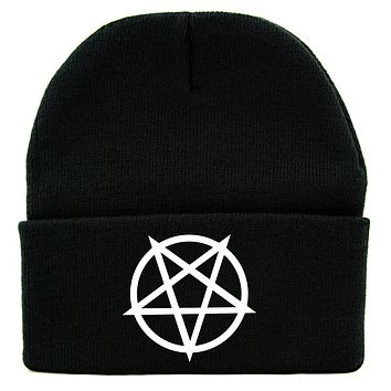 White Unholy Inverted Pentagram Symbol Cuff Beanie Knit Cap Occult Alternative Clothing