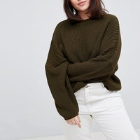 ASOS DESIGN Curve chunky sweater in crop with volume sleeve at asos.com