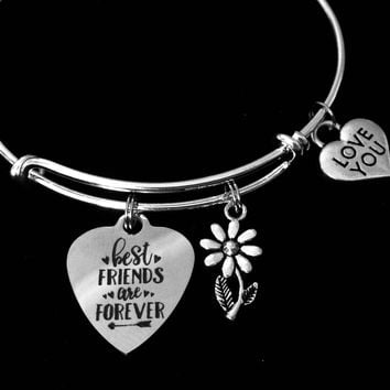 Best Friends are Forever Adjustable Charm Bracelet Best Friend Jewelry Expandable Silver Wire Bangle One Size Fits All Gift Love You Friend
