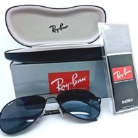 Men's Ray-Ban Aviator Classic Sunglasses Black Frames-Green Lenses & Black Case