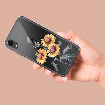 Vintage Sunflower Clear Phone Case
