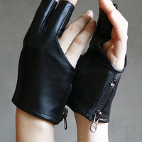 Genuine Leather Lambskin Sheepskin Punk Rocker Biker Dancer Fingerless Zip Glove FREE SHIPPING