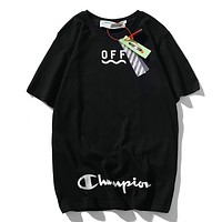 Off White & Champion Fashion New Summer Letter Stripe Print Couple Sports Leisure T-Shirt Top Black
