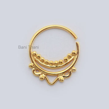Handmade Gold Plated 925 Sterling Silver Nose Ring - Ethnic Septum Ring - Septum Jewelry - Nose Ring - Gypsy - #1844