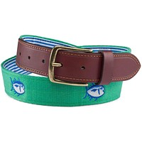 Embroidered Skipjack Belt in Augusta Green by Southern Tide