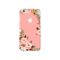 iPhone case - Peach Roses  (hard shell) - iPhone 6 case, iPhone 6s case, iPhone 6 Plus case, Good Luck Gold Sticker, non-glossy C19