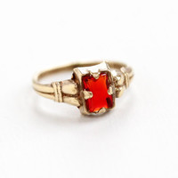 Vintage Brass Simulated Ruby Ring - Art Deco 1930s Size 2 1/2 Tiny Baby Midi Emerald Cut Red Glass Stone Jewelry